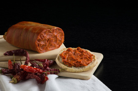 nduja on dark background