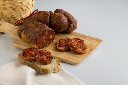 soppressata typical Italian salami of calabria, white background
