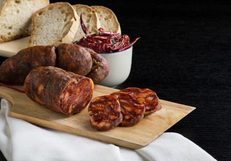 soppressata typical Italian salami of calabria, black background