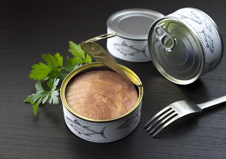 Thunfisch in Dosen Petersilie und Gabel Standard-Bild
