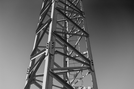 tower crane in black and white