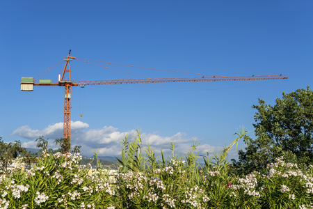 tower crane with nature landscape Reklamní fotografie