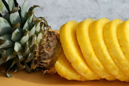 Pineapple slices ready to eat. Banco de Imagens