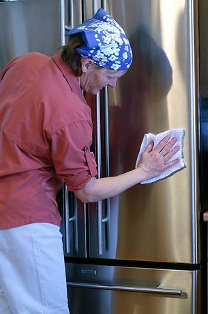 Keeping stainless steel appliances sleek and beautiful requires a bit of elbow grease! Stock Photo - 2665072