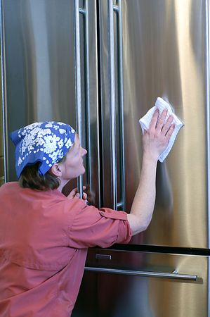 fridge: Keeping stainless steel appliances sleek and beautiful requires a little elbow grease.