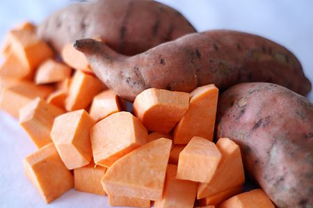 Sweet potatoes provide energy from starch and disease protection from mega doses of beta carotene.