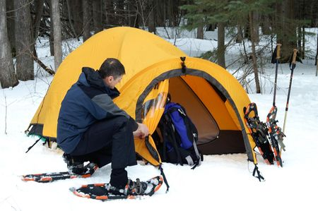 winters: Blessed with a mild winters day to pitch a tent.