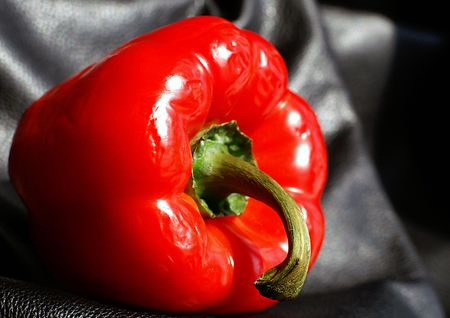 crudite: Choose ripe red peppers for their flavour and look past the wrinkles. Stock Photo