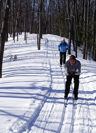 snow ski: Active  Boomers on the nordic ski trails in Wasaga Beach, Ontario.