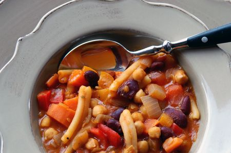 On a cold winters day,  vegetable minestrone hits the spot.