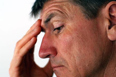 Middle-Aged Man with a worried look Stock Photo