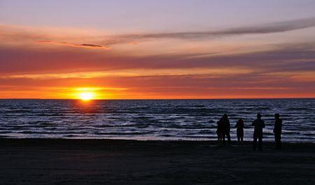 Sunset over Georgian Bay at Wasaga Beach, the worlds longest freshwater beach in Ontario, Canada Stock Photo