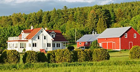 Immaculate farm buildings in rural Quebec