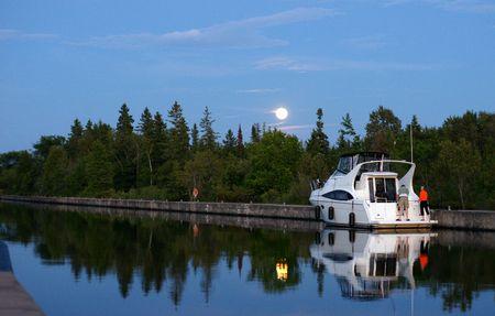 severn: August Moon over Trent Severn Waterway Stock Photo
