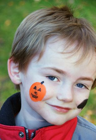 Face Painting on Young Boy Stock Photo - 4154519