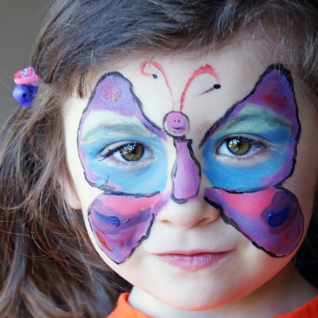 'face painting': Beautiful Butterfly Face Painting