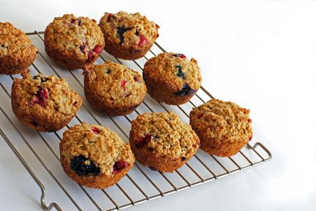 Home baked Cranberry-Blueberry muffins packed with fiber make a healthy snack photo