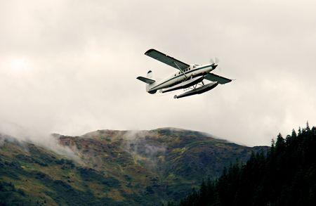 Float Plane over Juneau, Alaska Banco de Imagens