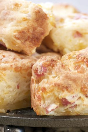 Home-Baked Ham and Cheese Biscuits fresh from the oven Stock Photo
