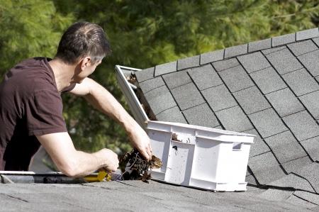Handyman cleaning gutters