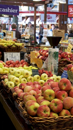 Apples for sale at the Granville Island market in Vancouver, Canada Stock Photo
