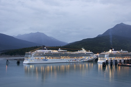 Cruise Ships docked in Skagway, Alaska early on a September morning in 2009.  Editorial