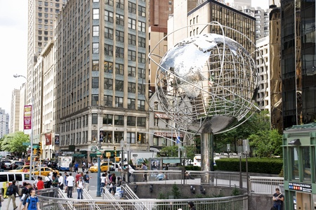 circle shape: Columbus Circle - New York City in August Editorial