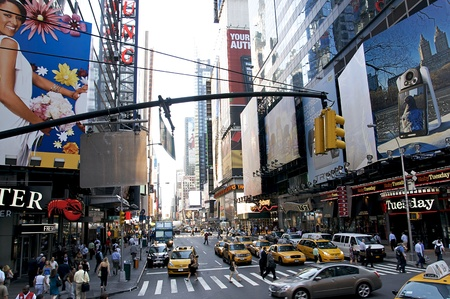 high street: Times Square - New York City in August