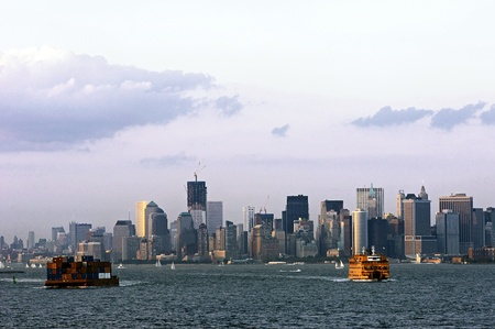 New York City Harbour and skyline on an August evening in 2011