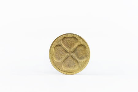 Four leaf golden lucky coin st patricks day Banco de Imagens