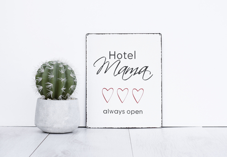 Mothersday gift text board hotel mama always open hipster background with cactus plant in concrete pot