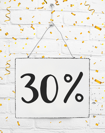 Thirty 30 % percent off black friday sale 30% discount golden party confetti banner billboard