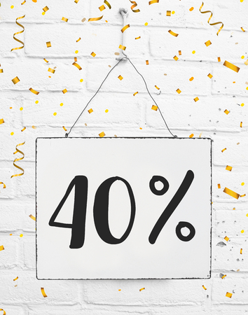 Forty five 40 % percent off black friday sale 40% discount golden party confetti banner billboard