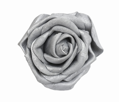 Silver gray glitter rose flower from above top view