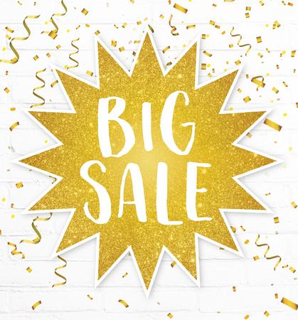 Text banner big sale in golden glitter sticker star low prices season sale advertisement for mega discount label Banco de Imagens