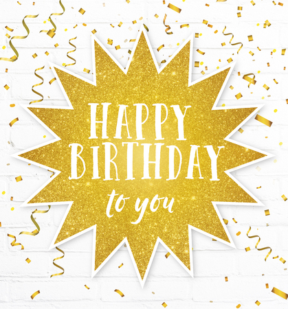 Happy birthday to you text quote with golden party confetti Banco de Imagens