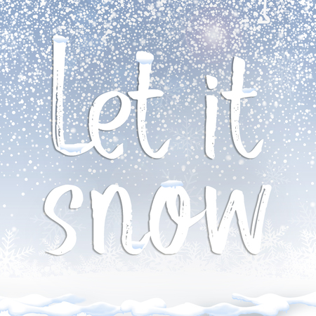 Text quote let it snow under snow against blue sky background Stock Photo