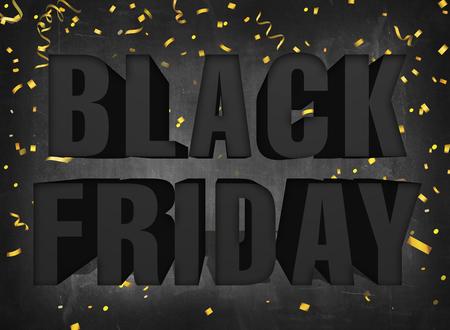 Text black friday big sale sign on dark blackboard background with golden party confetti Banco de Imagens