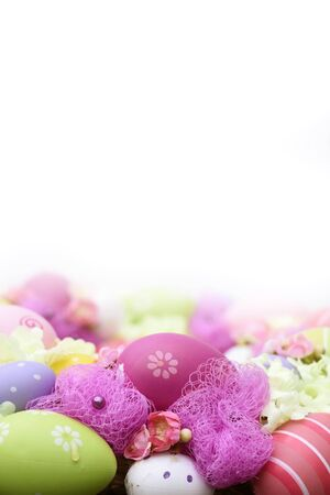 Beautiful colorful easter background with eggs blur background Banco de Imagens