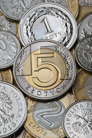 Poland - August 22, 2014 - Mixed Polish Zloty PLN coins are arranged for photograph