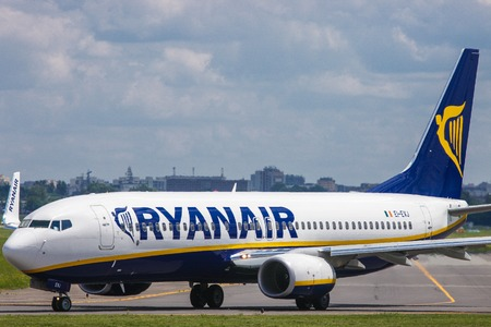 Warsaw, Poland -June 15, 2013 - An airplane of Ryanair Ltd, an Irish low-cost airline on the Okecie airport Redakční