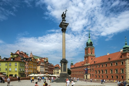 Warsaw, Poland - July 29, 2014 - A general view at the Warsaw Old Town - Royal Castle and Sigismunds Column. Redakční