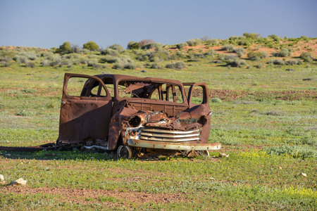4wd: Old car wreck in the middle of the outback of Australia Stock Photo