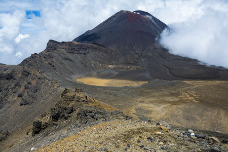 doom: View of Mount Ngauruhoe aka Mt Doom and the South Crater on the Tongariro Alpine Crossing, New Zealand