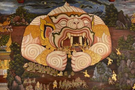 hanuman: Hanuman,fresco paintings, a mural in the Temple of the Emerald Buddha, Thailand.