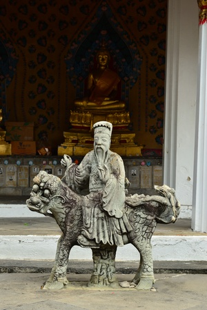stone carving: Chinese stone carving at Wat Arun, Thailand