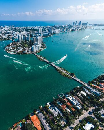 Aerial view of Miami islands on a sunny day Stock Photo