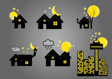 silhouete: house and building silhouete in night Illustration