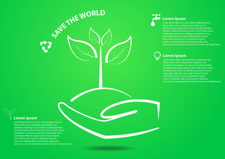 Hand and tree in save the world concept Vector