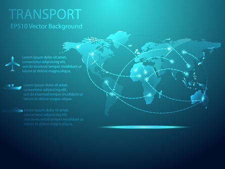 Abstract Transport with World map Background Vector Illustration Vector